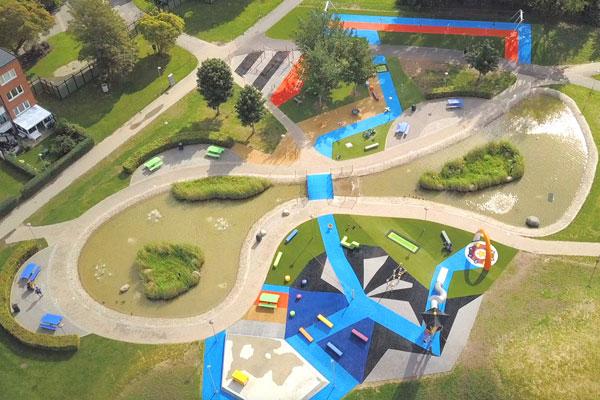 100% återvinningsbart konstgräs och fallskydd på Gamlegårdens aktivitetsområde